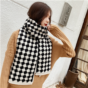 Geometric diamond knit cotton cheap scarf