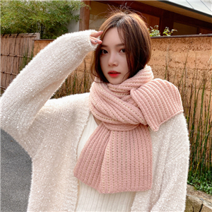 Pure color knitted wool cotton cheap scarf