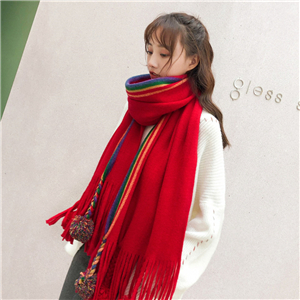 Wholesale-rainbow-hair-ball-tassel-cashmere-scarf
