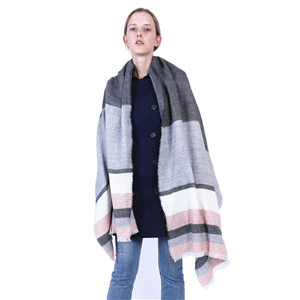 Wholesale color striped cashmere warm scarf