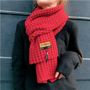 Solid color knitted wool warm cheap scarf