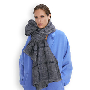 Wholesale gray plaid cashmere decorative scarf