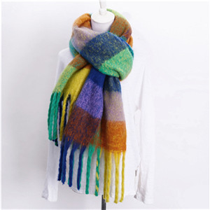 Wholesale color plaid tassel cashmere scarf