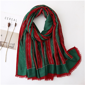 Chain pattern fringed cotton decorative cheap scarf