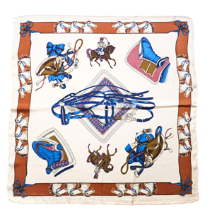 Wholesale chain pony pattern silk square scarf