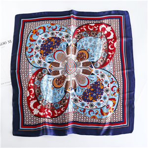 China wholesale flower print silk square scarf