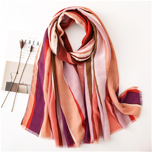Wholesale vertical strip rainbow printed cotton scarf