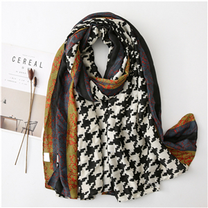 Wholesale houndstooth lace stitching cotto scarf