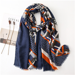 Wholesale striped geometric print cotton scarf