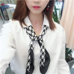 Chinese cheap houndstooth pattern silk square scarf