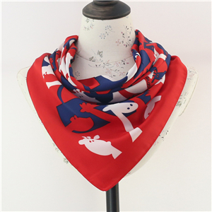 Wholesale cartoon printed silk square scarf