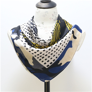 Wholesale plaid color matching silk square scarf