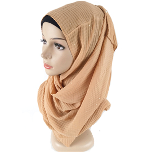 Wholesale crumpled pure color chiffon muslim scarf