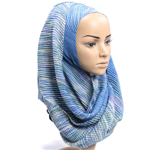 Wholesale Crumpled Striped Muslim Scarf