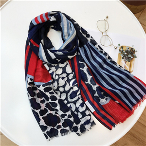 Navy blue leopard striped raw cotton cheap scarf