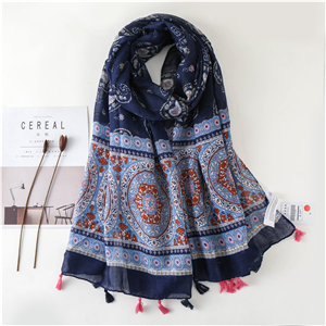 China wholesale cashew flower contrast print tassel cotton scarf