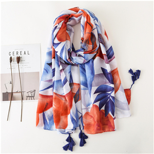China wholesale color matching flower print tassel cotton scarf