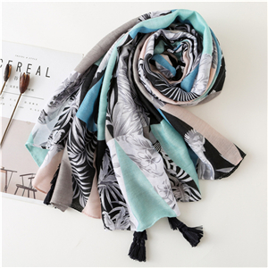 China wholesale tropical leaf print hit color tassel cotton scarf