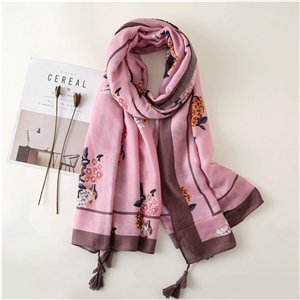 Wholesale rose pink print tassel cotton scarf
