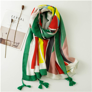 China wholesale geometric color tassel cotton scarf