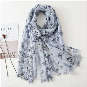 China wholesale butterfly print tassel cotton scarf