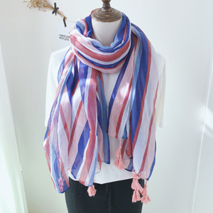 China colorful striped cotton scarf