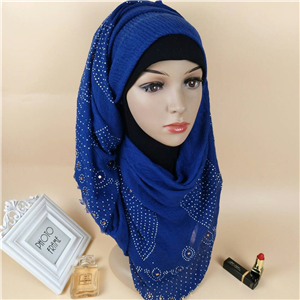 Wholesale four sided hairy hot drilling cotton Muslim scarf