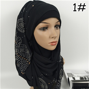 China wholesale hot drill monochrome chiffon muslim scarf