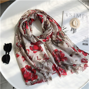 Wholesale flower tassel cotton scarf