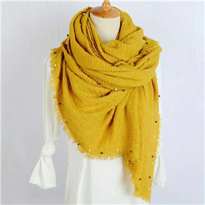 Wholesale four-sided hair beaded cotton Muslim scarf
