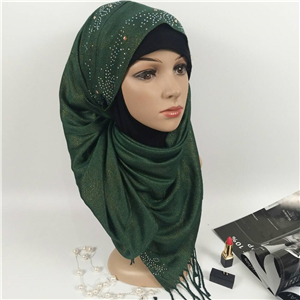 Wholesale hot drilling gold silk cotton Muslim scarf