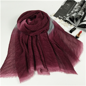 Wholesale gradient pleated cotton muslim scarf