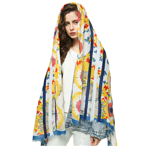 Wholesale sun flower print tassel cotton scarf
