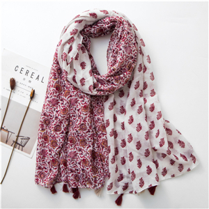 Wholesale contrast color flower print tassel cotton scarf