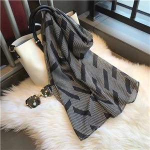 Wholesale geometric striped warm cotton scarf
