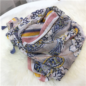 Wholesale peacock print warm cotton scarf