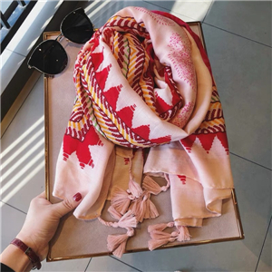 Wholesale geometric cashew flower tassel cotton scarf