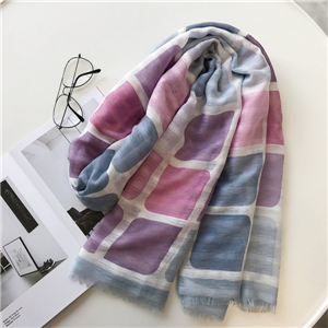 Wholesale pink blue square graffiti warm cotton scarf