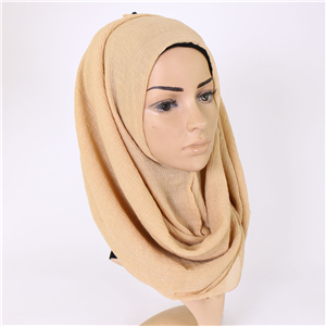Pure color crumpled cotton Muslim cheap scarf