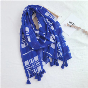 Color matching geometric tassel cotton cheap scarf