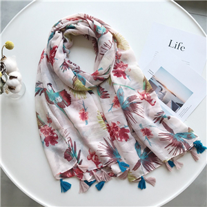 Printed fringed decorative cotton cheap scarf