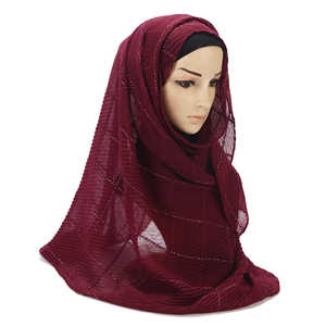 Wholesale monochrome crumpled cotton muslim scarf