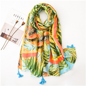 Wholesale papaya pattern tassel cotton scarf