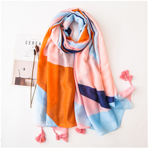 Wholesale geometric mosaic pattern tassel cotton scarf