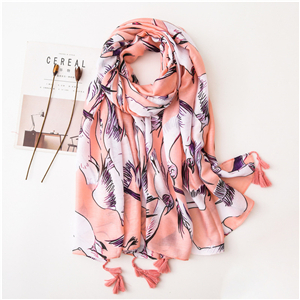 Wholesale foundation white dove print tassel cotton scarf