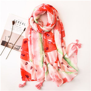 Wholesale watermelon pink cotton print tassel cotton scarf