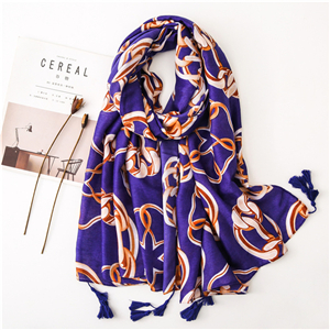 Wholesale blue bottom metal ring print tassel cotton scarf