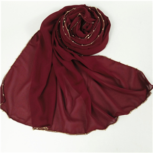 Wholesale solid color four-sided chain chiffon decorative scarf