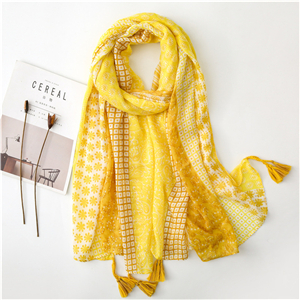 Wholesale yellow floral cotton sunscreen scarf