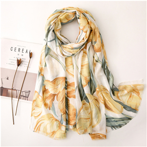 Floral printed cotton sunscreen cheap scarf
